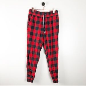 Aerie Pajama Pants Joggers Buffalo Plaid Red Black